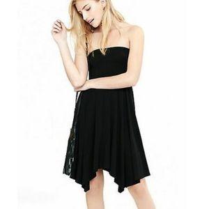 Express Strapless Handkerchief Hem Dress in Black